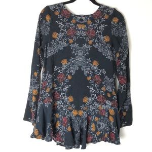 Free People Small Floral Long Sleeve Top Shirt